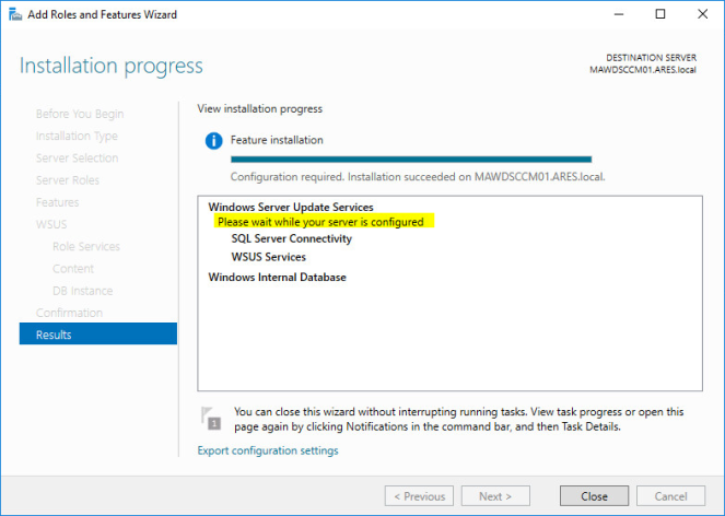 Configuring WSUS with SCCM Current Branch (Server 2016